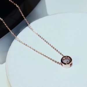 New rose gold stimulated diamond necklace
